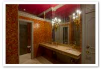 Ornately Furnished His & Hers Restrooms on Every Floor